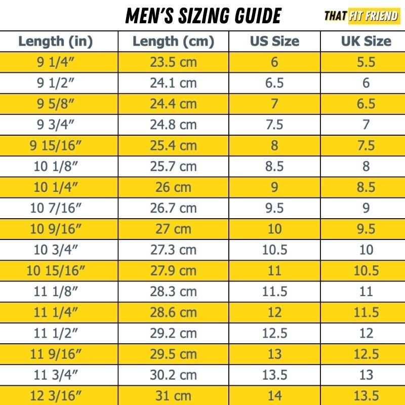 men's cross-training shoe sizing guide