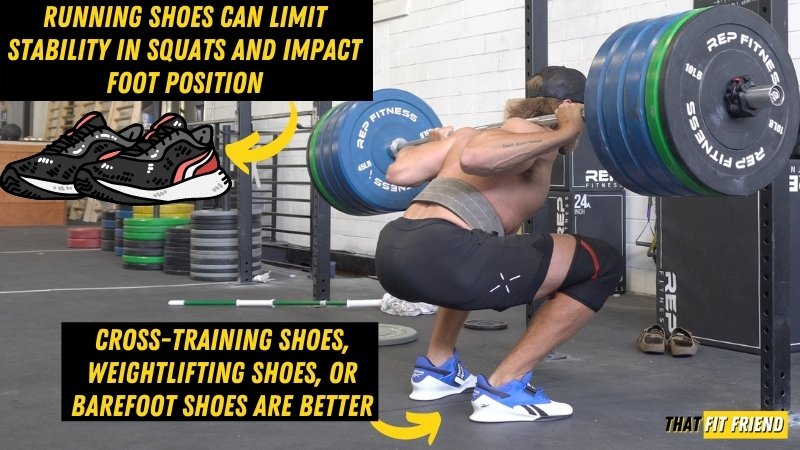 can i squat in running shoes